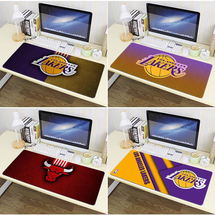 券后9.80元NBA篮球队徽湖人个性定制创意鼠标垫超大号加厚锁边电脑办公桌垫