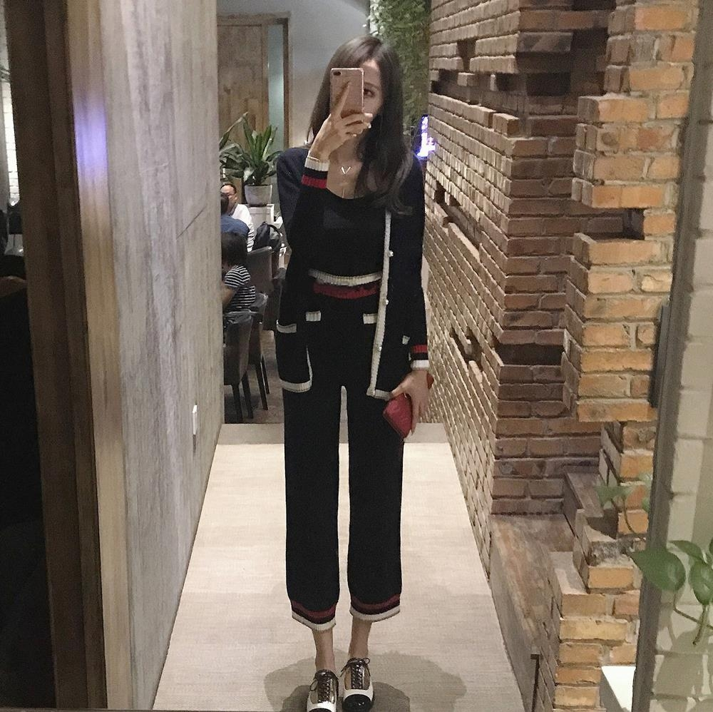 Knitted Wide Leg Pants Set womens spring 2018 Korean version of social Hong Kong style fashionable two-piece ins super fire jacket