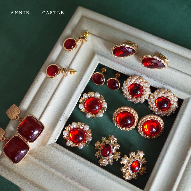 耳饰耳夹复古巴洛克新年喜庆红宝石耳钉西洋古董安妮城堡vintage
