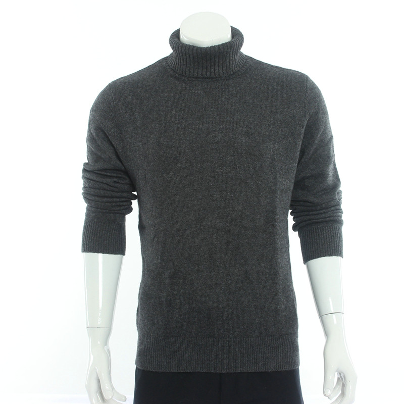 Pure color thickened mens high turn collar pure cashmere sweater slim knit bottomed sweater autumn and winter new middle-aged and young sweater