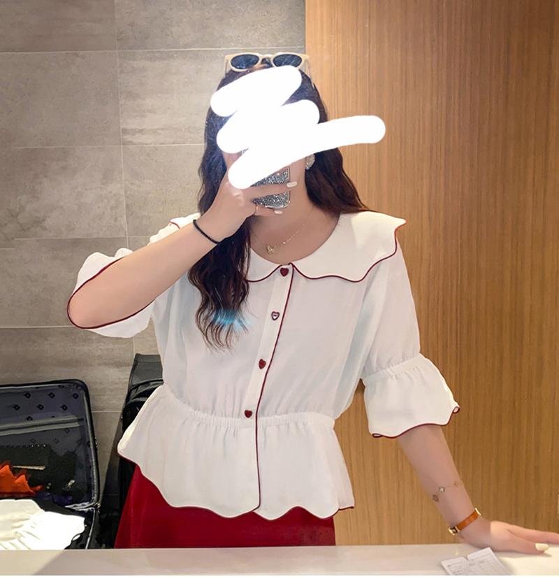 胖佳佳大码套装女夏胖mm洋气减龄显瘦雪纺衫半身裙时髦心机两件套