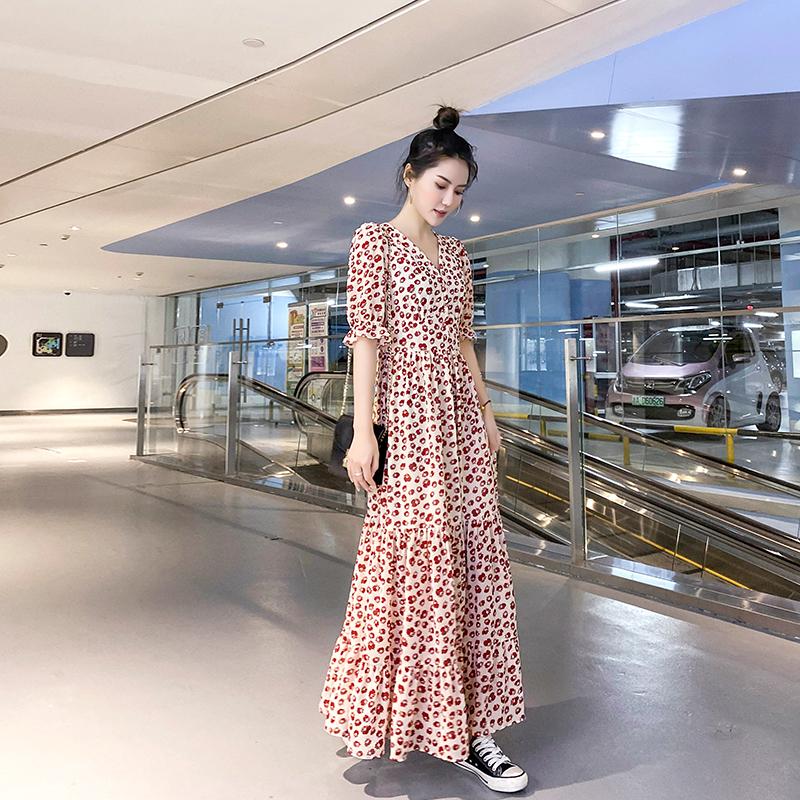 2021夏季新款雪纺长袖碎花显瘦连衣裙 夏装荷叶边大摆气质长裙女
