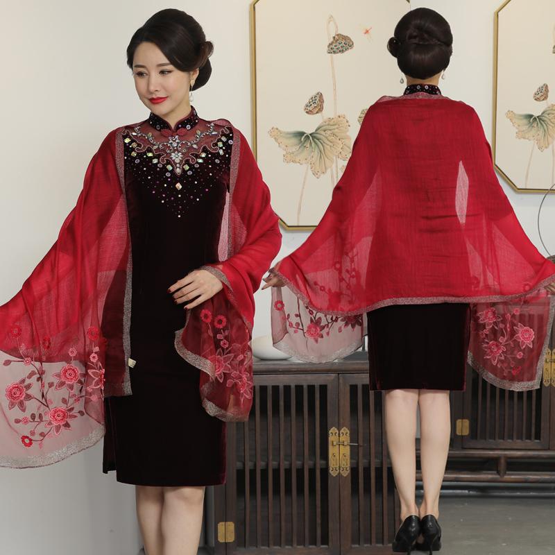 Red festive mother wedding dress silk wool Qipao shawl scarf with thin shawl