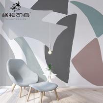 格物印画现代简约几何色块壁纸温馨壁布客厅背景墙纸卧室装饰墙布