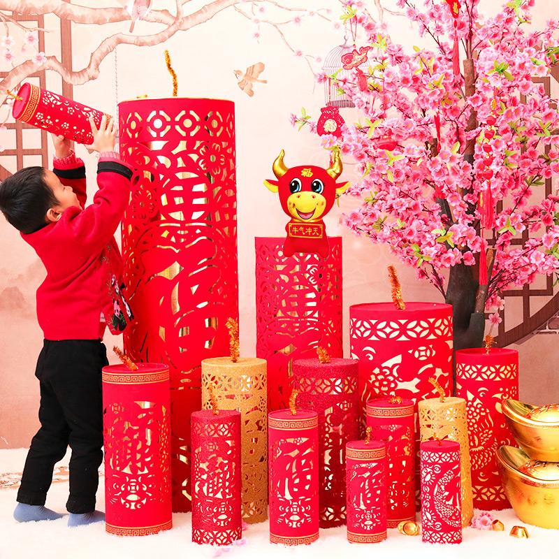 春节新年元旦开业摆件装饰摆件场景布置用品鞭炮商场室内客厅坐炮