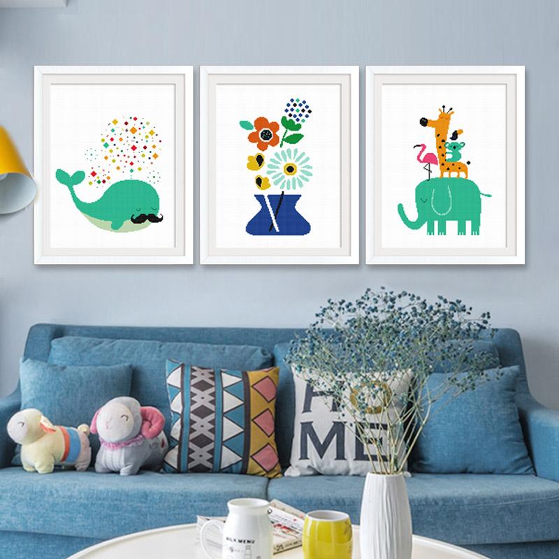 春天十字绣2018新款客厅线绣简约现代儿童卡通可爱卧室小幅简单绣