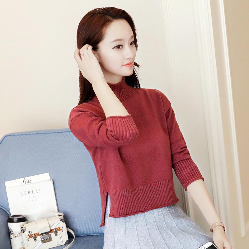High waist and high neck sweater womens autumn and winter Korean loose short side split knitted bottom shirt ultra short open navel top