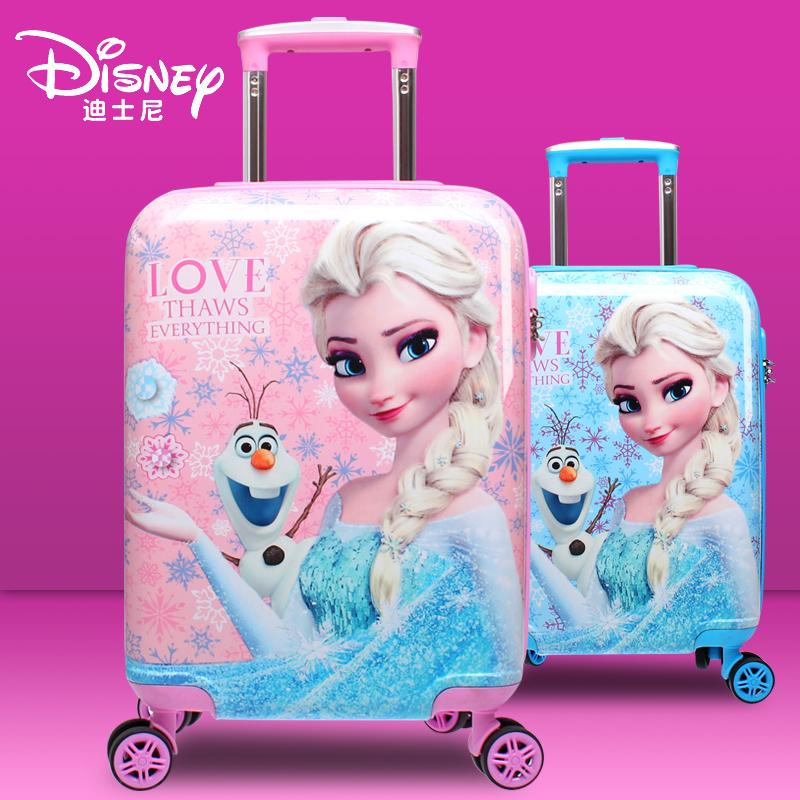 迪士尼儿童可坐拉杆箱爱莎公主16寸行李箱万向轮旅行箱18寸登机箱图片