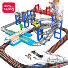 High speed railway harmony small train rail car children's toys, intelligence, brain moving children, boys, shaking voice the same