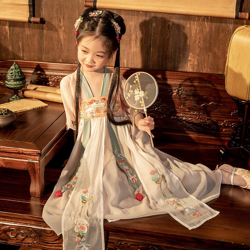 茗楠之家汉服女童古装小女孩夏季中国风超仙儿童古装短袖连衣裙