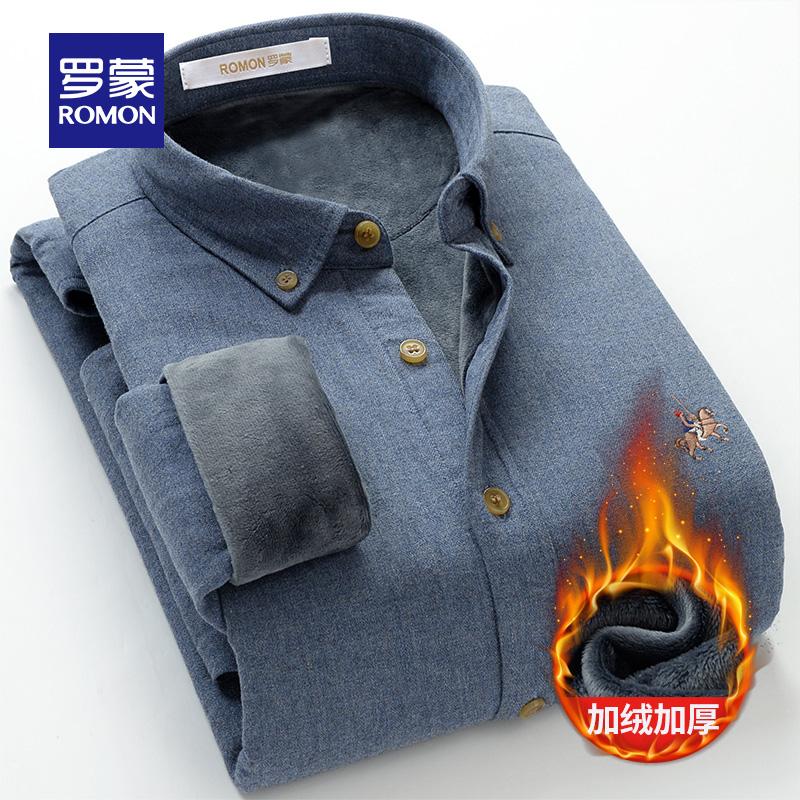 【惠】罗蒙男士纯棉衬衫秋冬加厚加绒衬衫中青年休闲长袖保暖衬衣图片