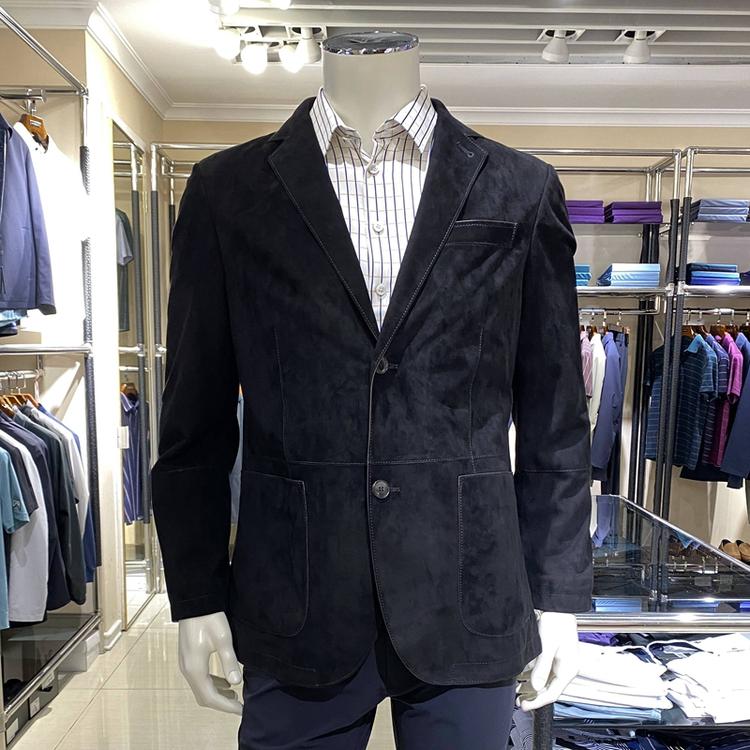 新款路卡迪龙专柜正品秋冬季男装羊反绒面皮衣上衣外套365201007