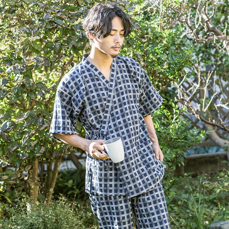 纯棉纱布睡衣男夏季薄款短袖套装日式甚平服宽松全棉和风家居服