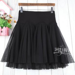秋冬女a字百褶短裙網紗裙半身裙子蓬蓬大碼黑色顯瘦鬆緊高腰打底