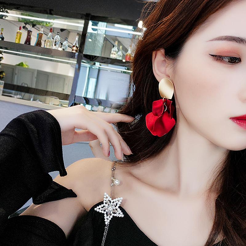 券后14.80元名媛风性感玫瑰红气质韩国女大耳环