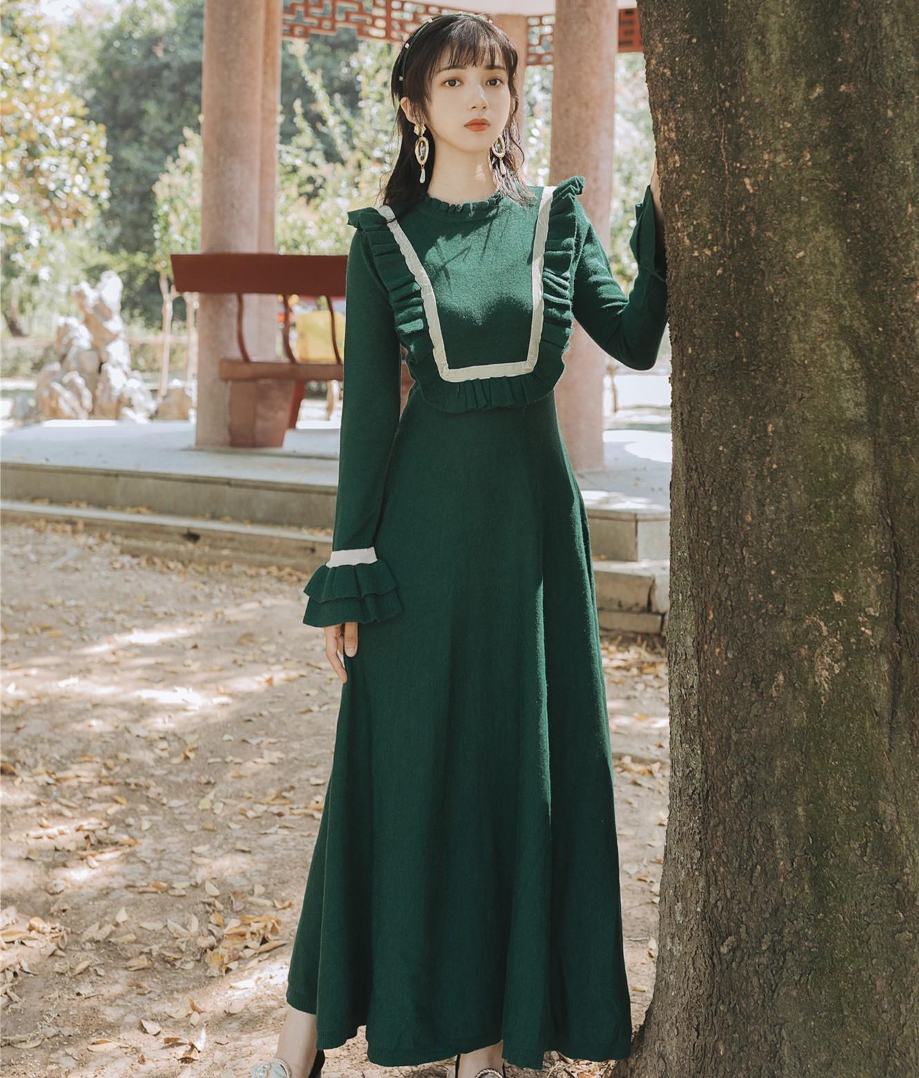复古针织裙打底外穿百搭针织连衣裙