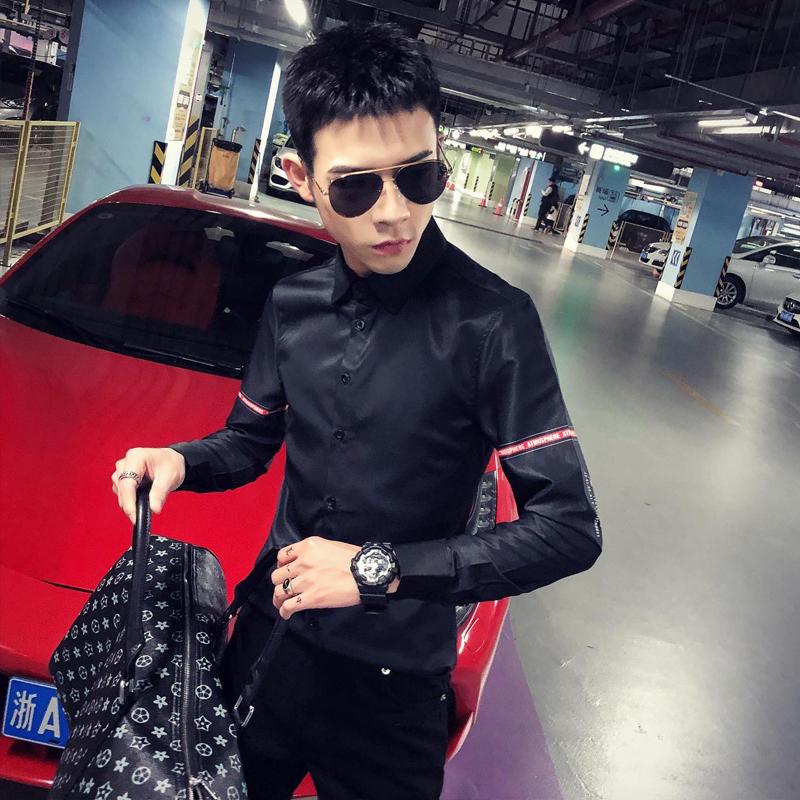 2020春季春款条纹社会小伙风韩版长袖纯色修身衬衫A236-9817-P55