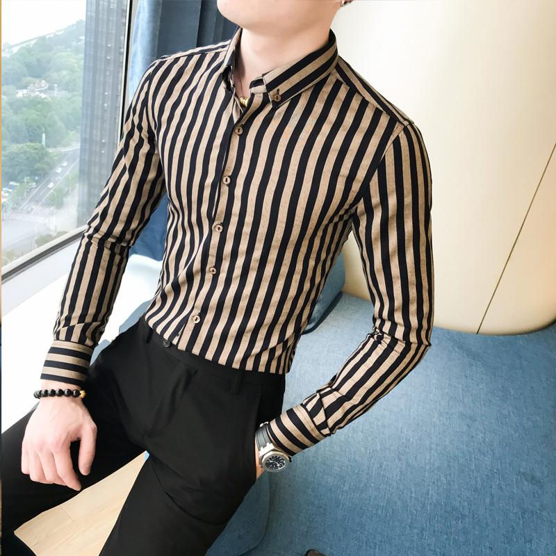19春季发型师英伦衬衫男长袖修身韩版潮流个性条纹A236-1075-P55