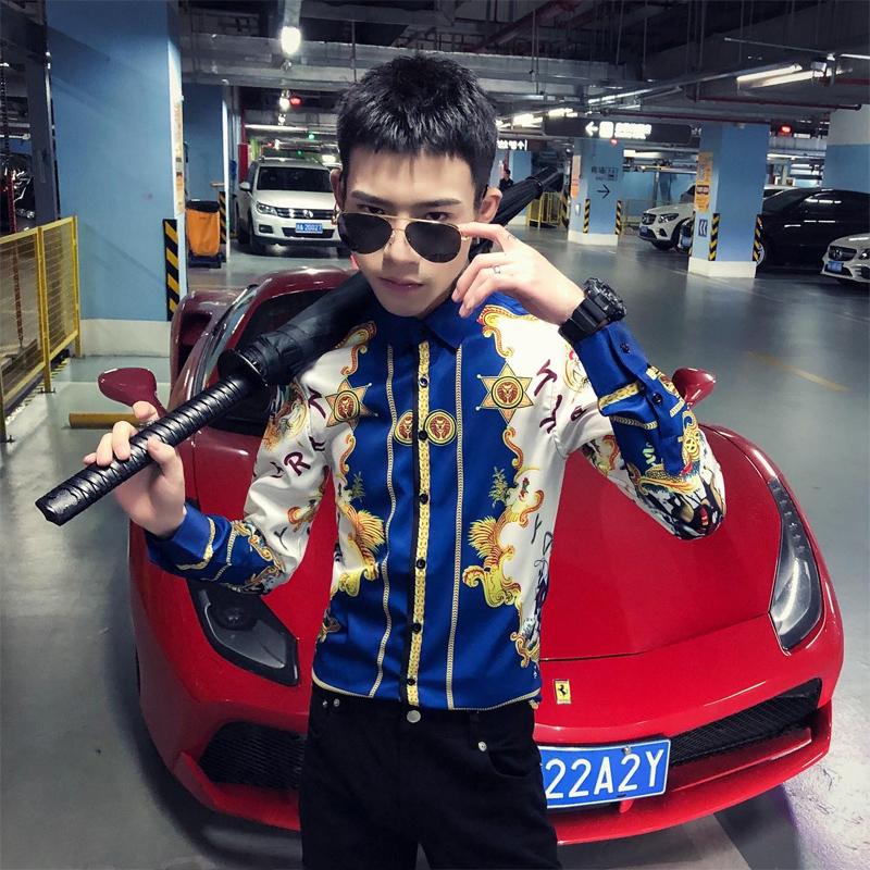 2020春季春款条纹印花 社会风韩版长袖纯色修身衬衫A236-9807-P55
