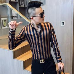 2019秋男士修身长袖衬衫衬衣男社会小伙花衬衫A236-1135-P55