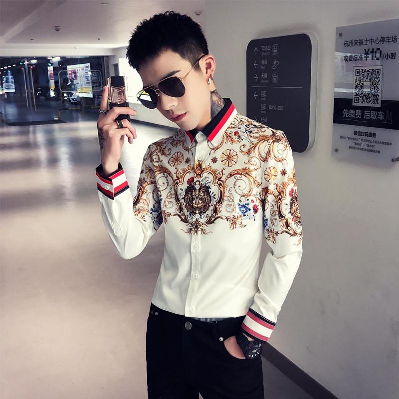 2020春季春款条纹社会小伙风韩版长袖纯色修身衬衫A236-9813-P55