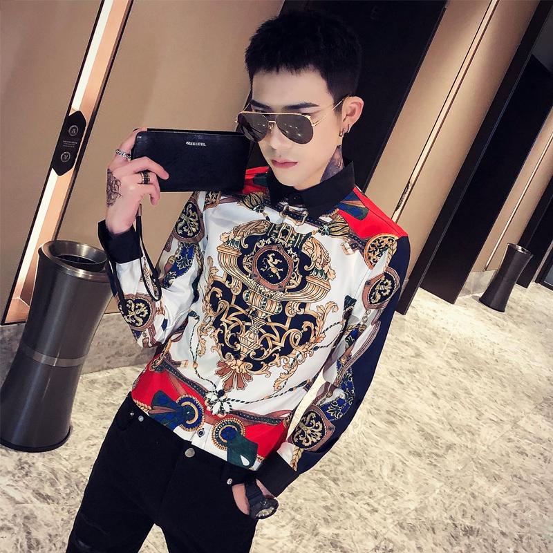 2020春季春款条纹印花 社会风韩版长袖纯色修身衬衫A236-9805-P55