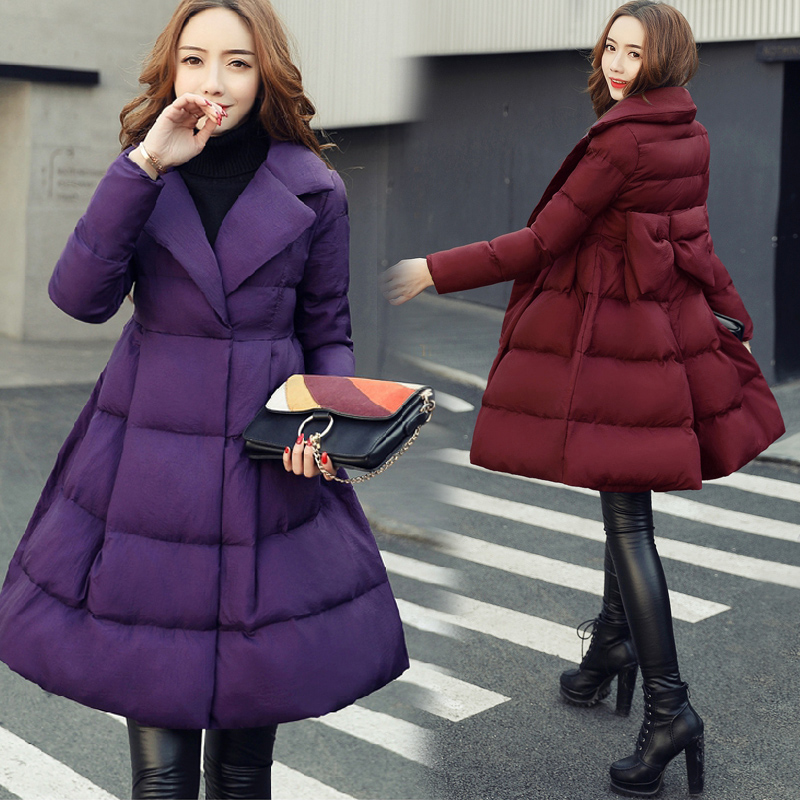 2019 new thickened down cotton padded jacket womens mid long warm and fluffy skirt with A-shape sweet cotton padded jacket