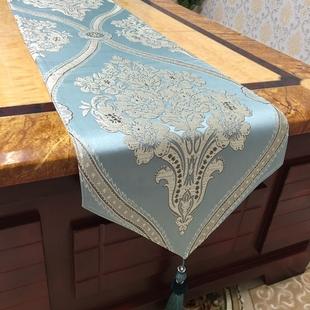 欧式奢华现代简约时尚浅蓝色中式餐垫桌布餐桌旗茶几旗床旗可定做价格