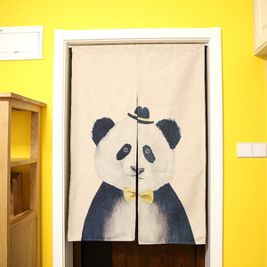 Personalized hat panda cotton curtain cartoon children's room bedroom blackout curtains hanging curtain partition