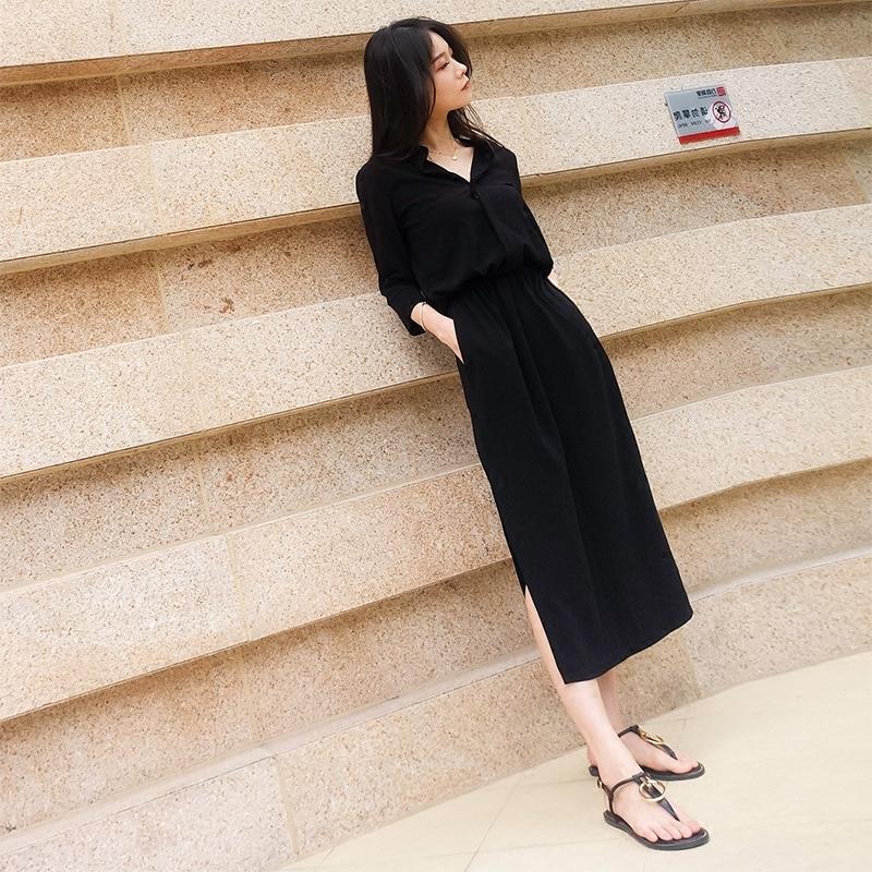 黑色连衣裙女2019夏季新款韩版中长款收腰显瘦赫本长裙港味气质女(非品牌)