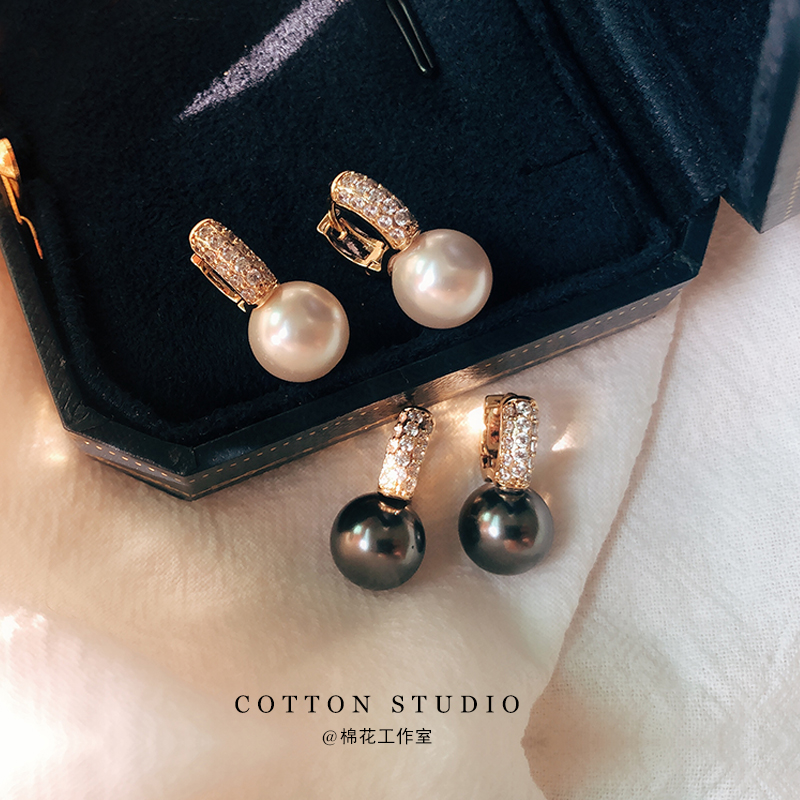 18K diamond inlaid fragrance Princess Tahiti high-grade ear buckle round black and white pearl elegant temperament Earrings