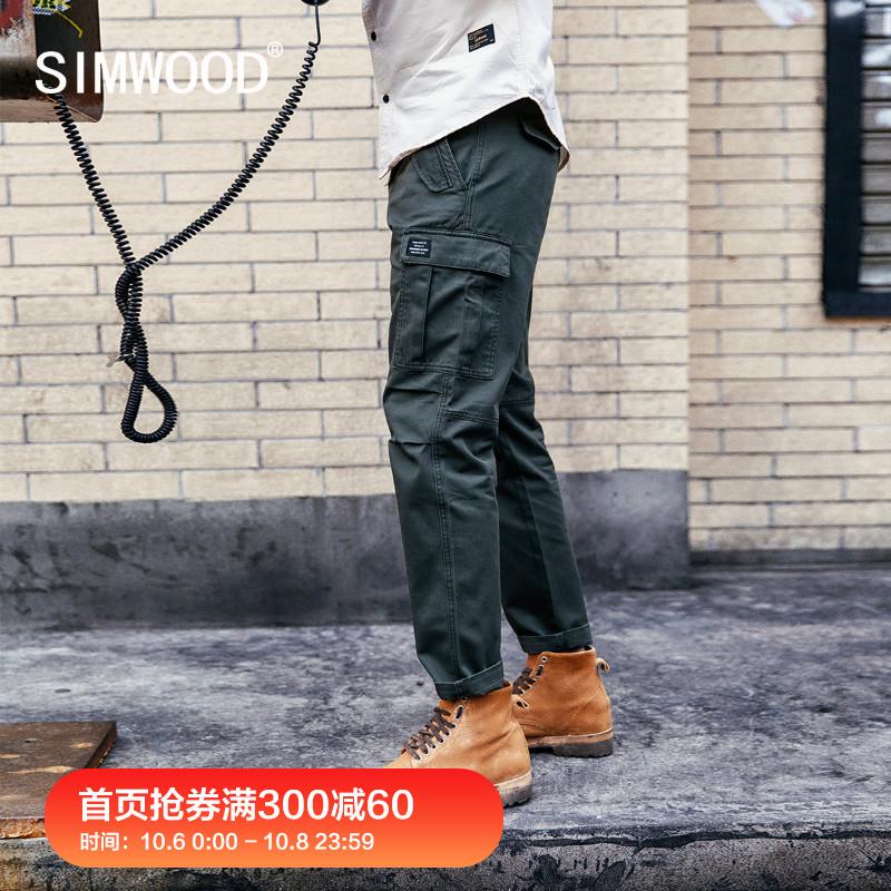(用20元券)Simwood简木男装2019秋季宽松多袋休闲裤男士工装直筒九分裤潮流