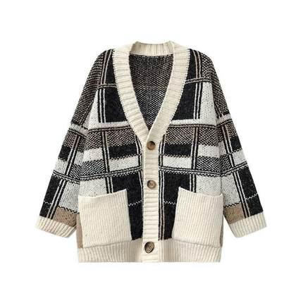 复古针织外套宽松慵懒风拼接毛衣