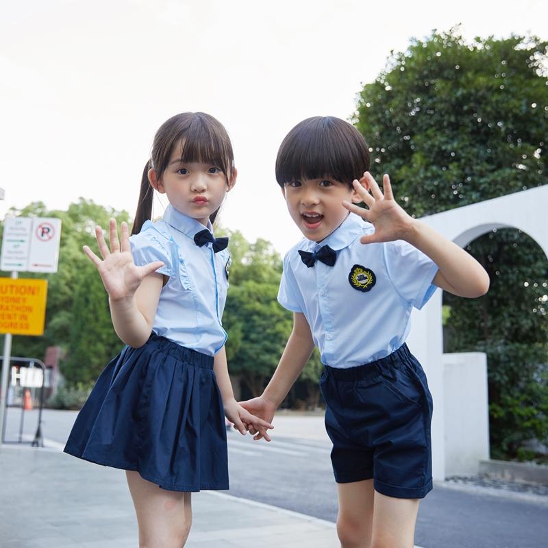 小学生校服夏季短袖英伦学院风儿童毕业照班服幼儿园园服蓝色套装