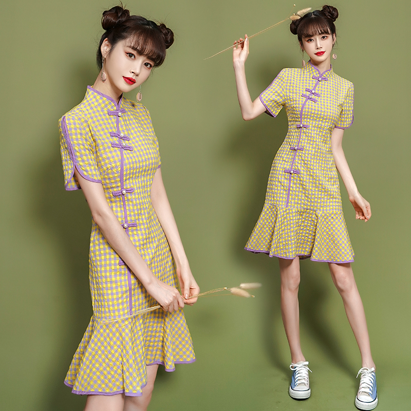 2020 new fashion improved cheongsam dress lovely and sweet daily life young girl Chinese style