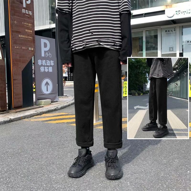 牛仔裤男港风九分裤子潮牌宽松直筒中性老爹裤韩版潮流808-p35