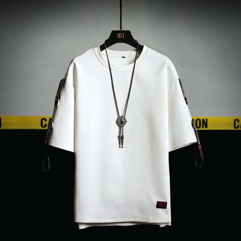 挂拍黄 电商A088-T19817-P30 94%涤纶6%氨纶 夏装大码五分袖T恤男