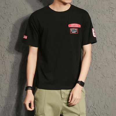 电商A088-T713-P25 95%棉5%氨纶 夏装新款韩版潮流短袖T恤大码男