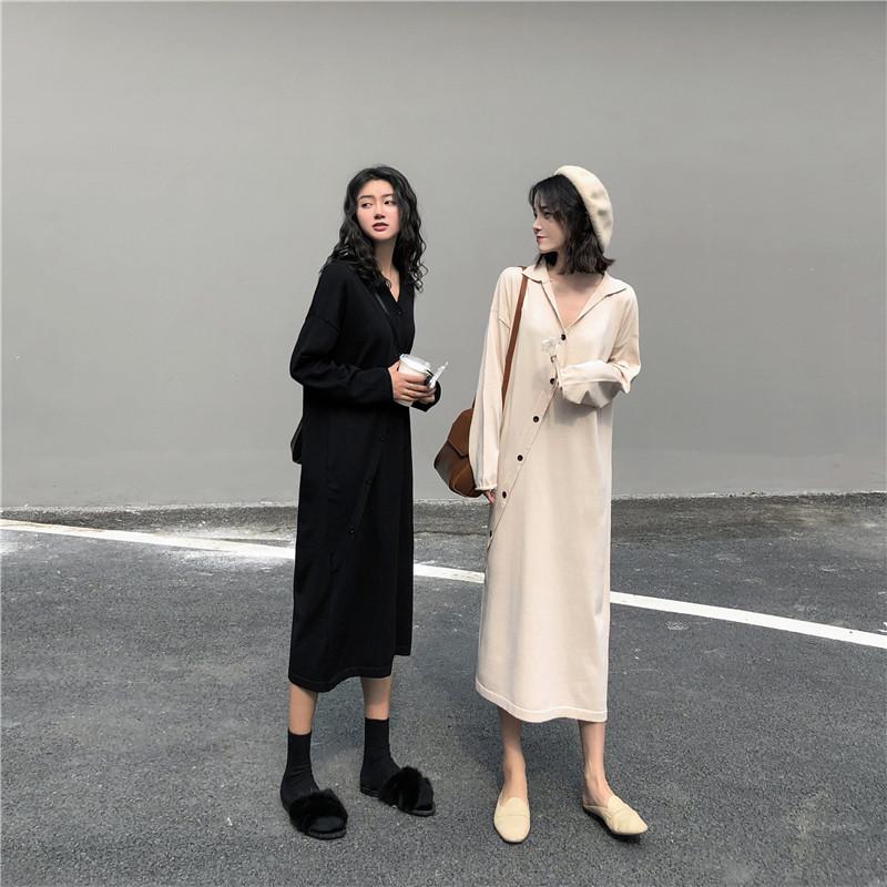 热销0件限时2件3折150cm小个子显高穿搭韩版宽松慵懒长袖针织连衣裙女气质显瘦长裙