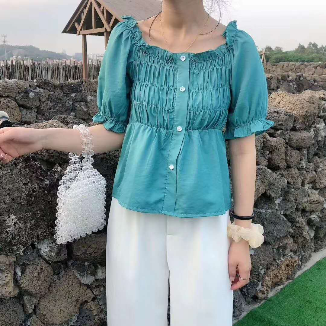 Summer 2020 new style waist close short one shoulder short sleeve ear edge bubble sleeve shirt small top women