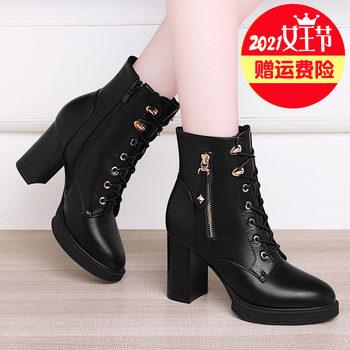 2021新款黑色真皮气质高跟鞋皮鞋