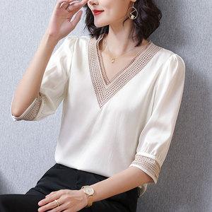 白色重磅镂空短袖夏季新款洋气衬衫