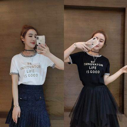 薇娅viya2019夏装小xiang风chic打底上衣金色印花短袖T恤女006581