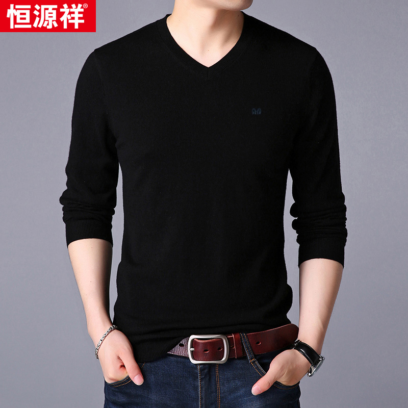 Hengyuan Xiangxiang sweater Men's heart collar pullover T-shirt knitted bottom shirt Men's V-collar thin sweater made in China