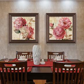 现代美式餐厅壁画 欧式卧室床头挂画三联有框花卉墙画 客厅装饰画