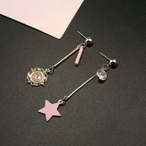 Exaggerated pentagram earrings female with asymmetric alarm clock pendant
