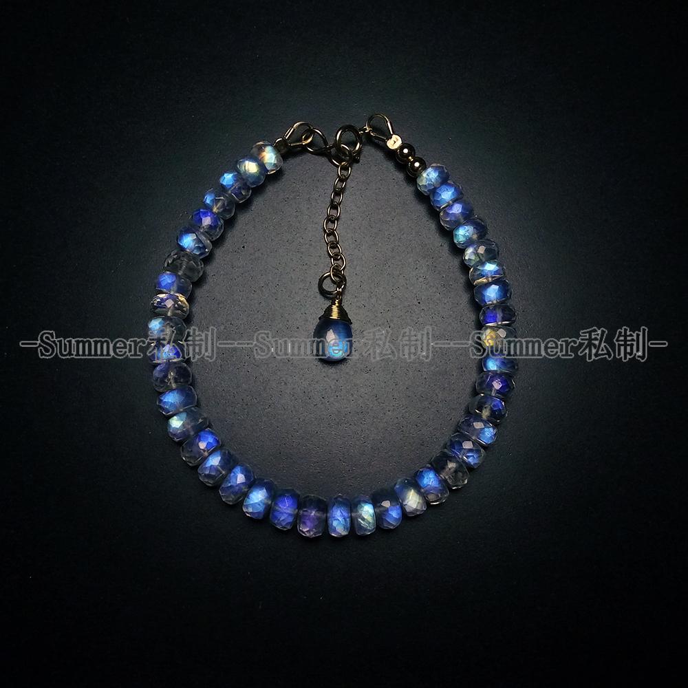 High quality natural blue light color moonlight stone cut abacus bead 14K gold wrapped BRACELET HANDMADE semi precious stone