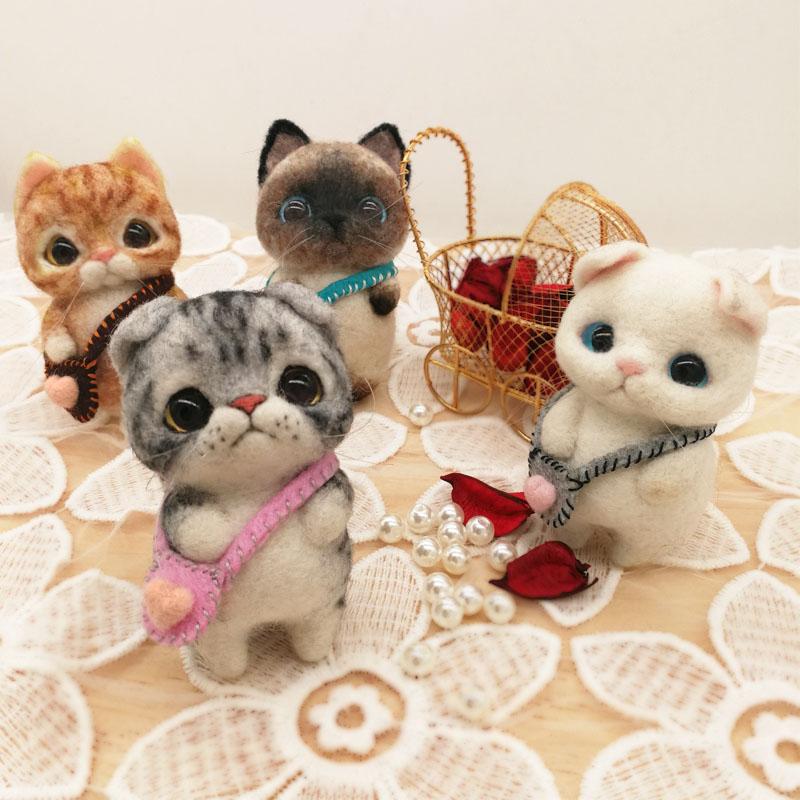 打发时间手工品 猫咪羊毛毡搓戳戳乐 英短材料包diy 制作公仔玩偶