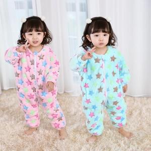 宅時尚2018秋冬新款兒童家居服韓版中小童彩色星星連體睡袋