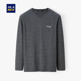 HLA/海澜之家时尚提花V领长袖T恤2019秋冬热卖简约舒适长T男